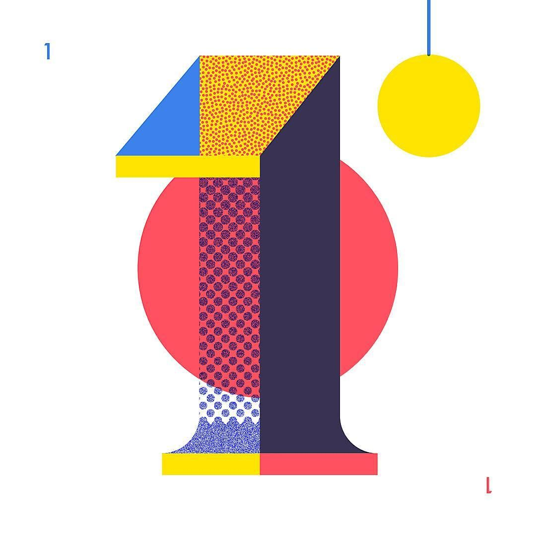 1 • O N E Numbers Pinterest Typography Behance and Illustrations