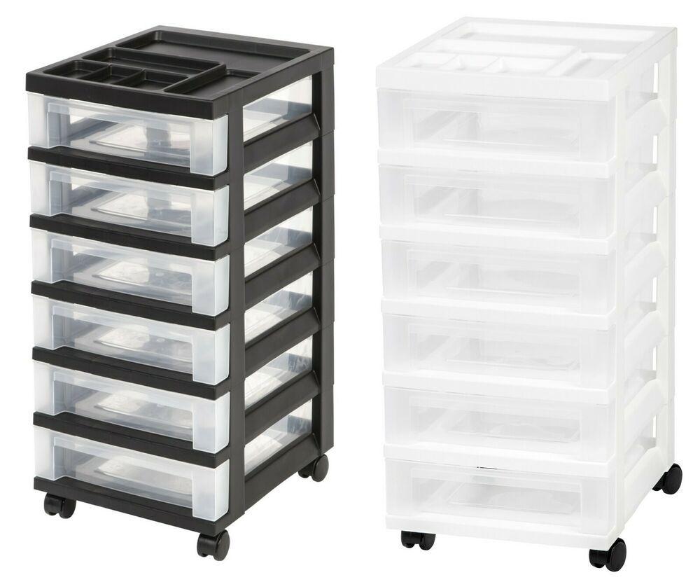 6 Drawer Plastic Storage Cart Medium Size Caster Wheels Organizer Top Storing Iris Plastic Storage Cabinets Plastic Storage Storage Cart
