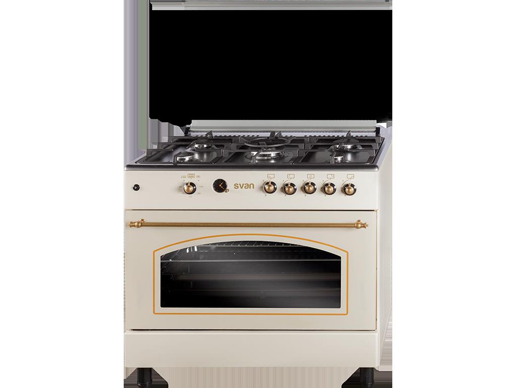 Cocina De 5 Fuegos Crema Modelo Svk9561fc De Svan Cocinas Cremas Electrodomesticos