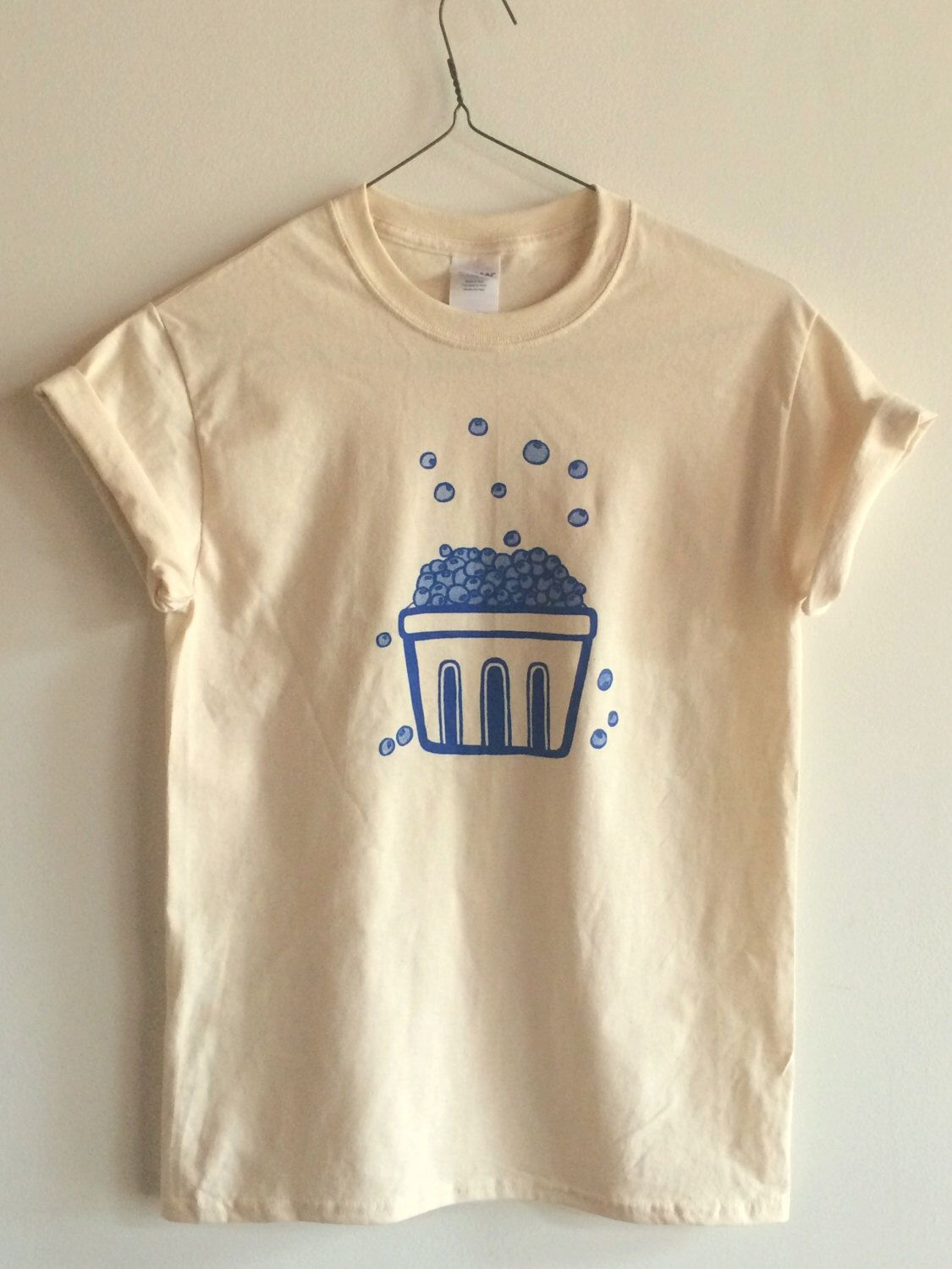 Blueberry T Shirt Food Shirt Graphic Tee Screen Printed T Shirt