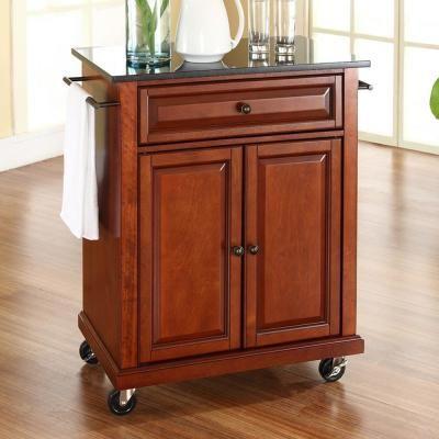 Crosley Cherry Kitchen Cart With Black Granite Top Cherry And Black Top Craftsman Kitchen Furniture Kitchen Cart