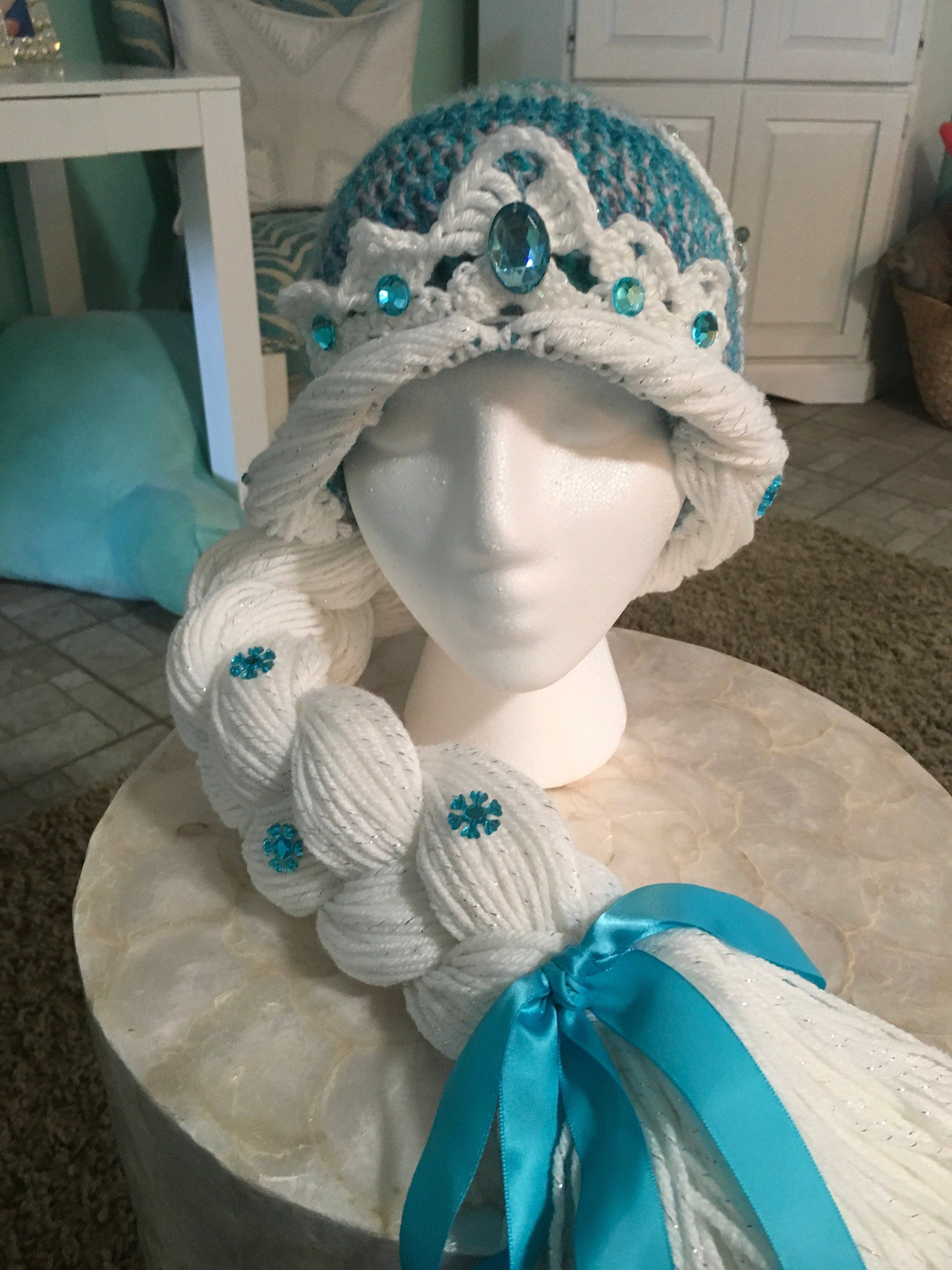 Princess Elsa hat, yarn wig, Snow Queen hat, Disney, Frozen, crochet #queenshats