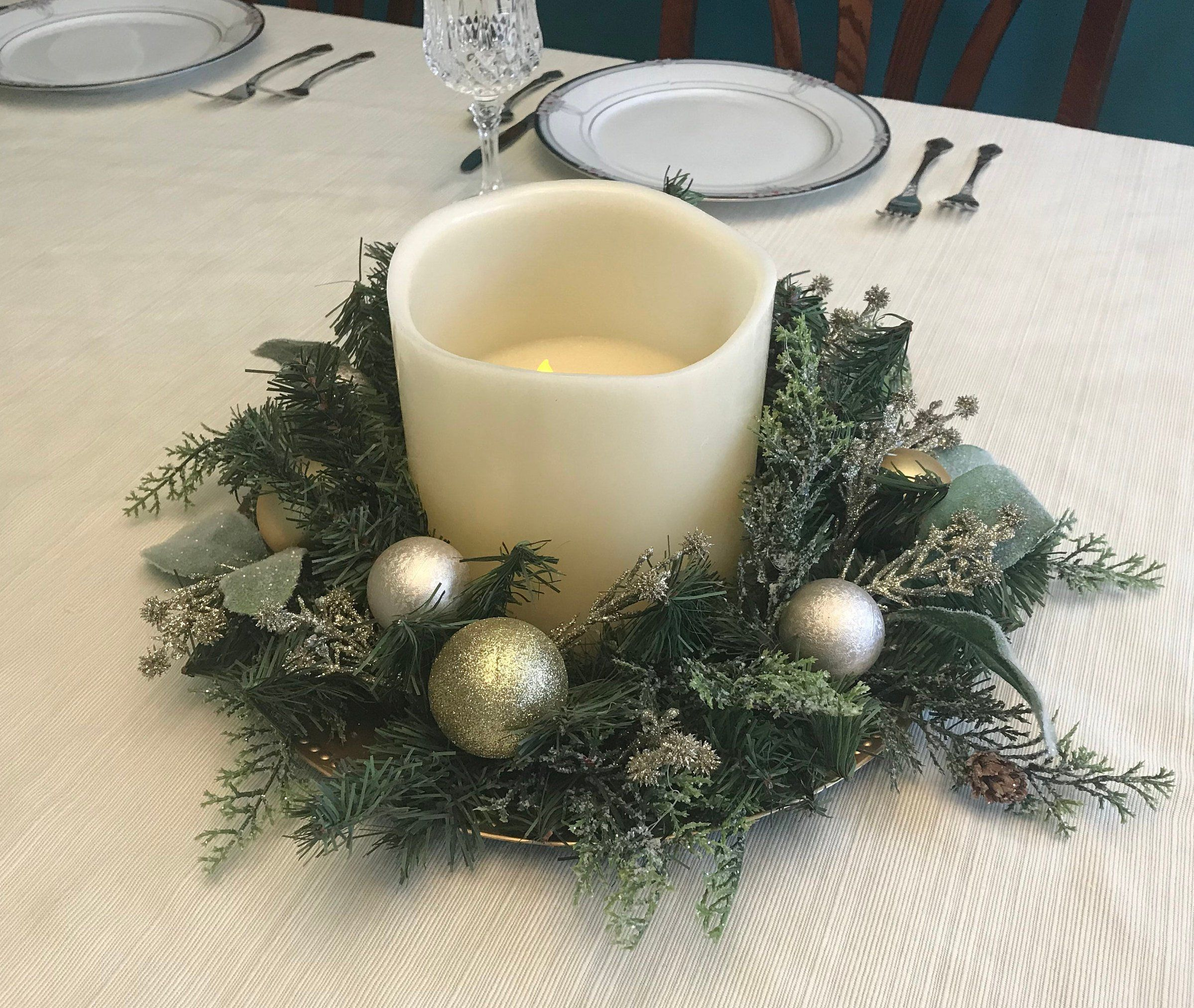Sparkling Gold Holiday Table Arrangement Flameless Candle Christmas Table Decor Battery Operated Candle Decor Gold Champagne Frosted Leaves Gold Holiday Table Battery Operated Candles Decor Christmas Table Decorations