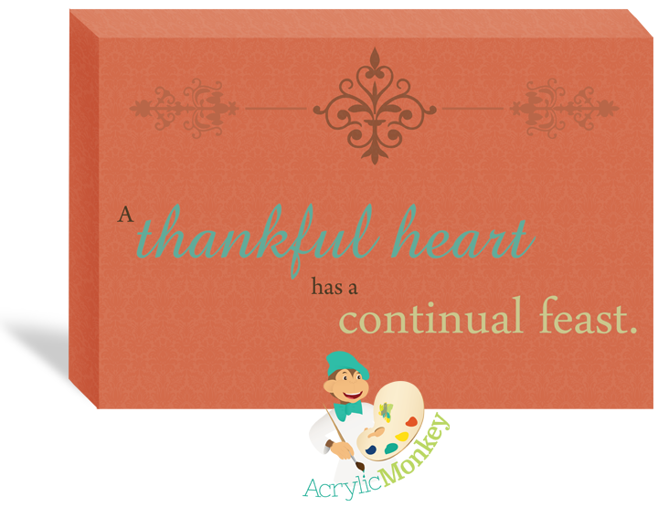 love the colors in this Thankful Hearts holiday canvas wall art; available at Acrylic Monkey