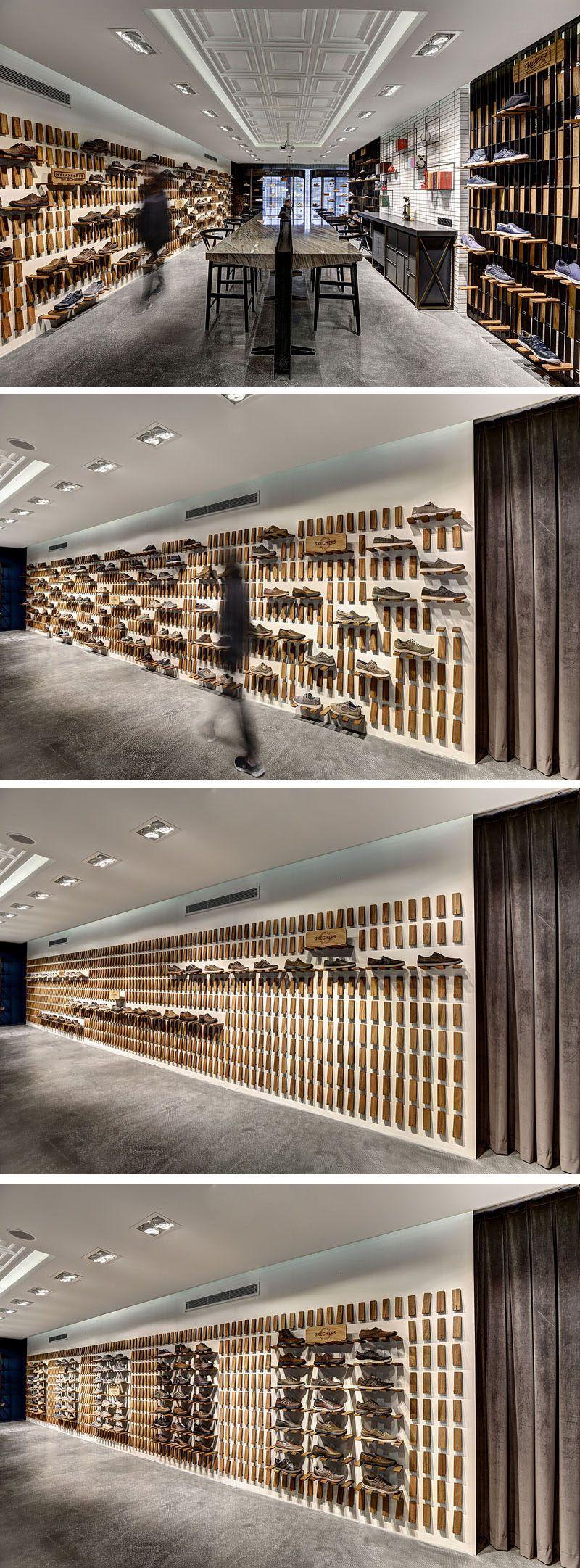 Storage Idea Flip Down Wall Shelf Shoe Store Design Wall Shelves Design