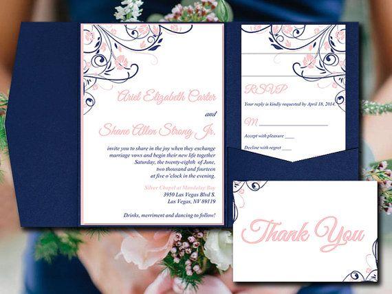 Wedding Pocketfold Invitation Template - Blush Navy Pocket Fold