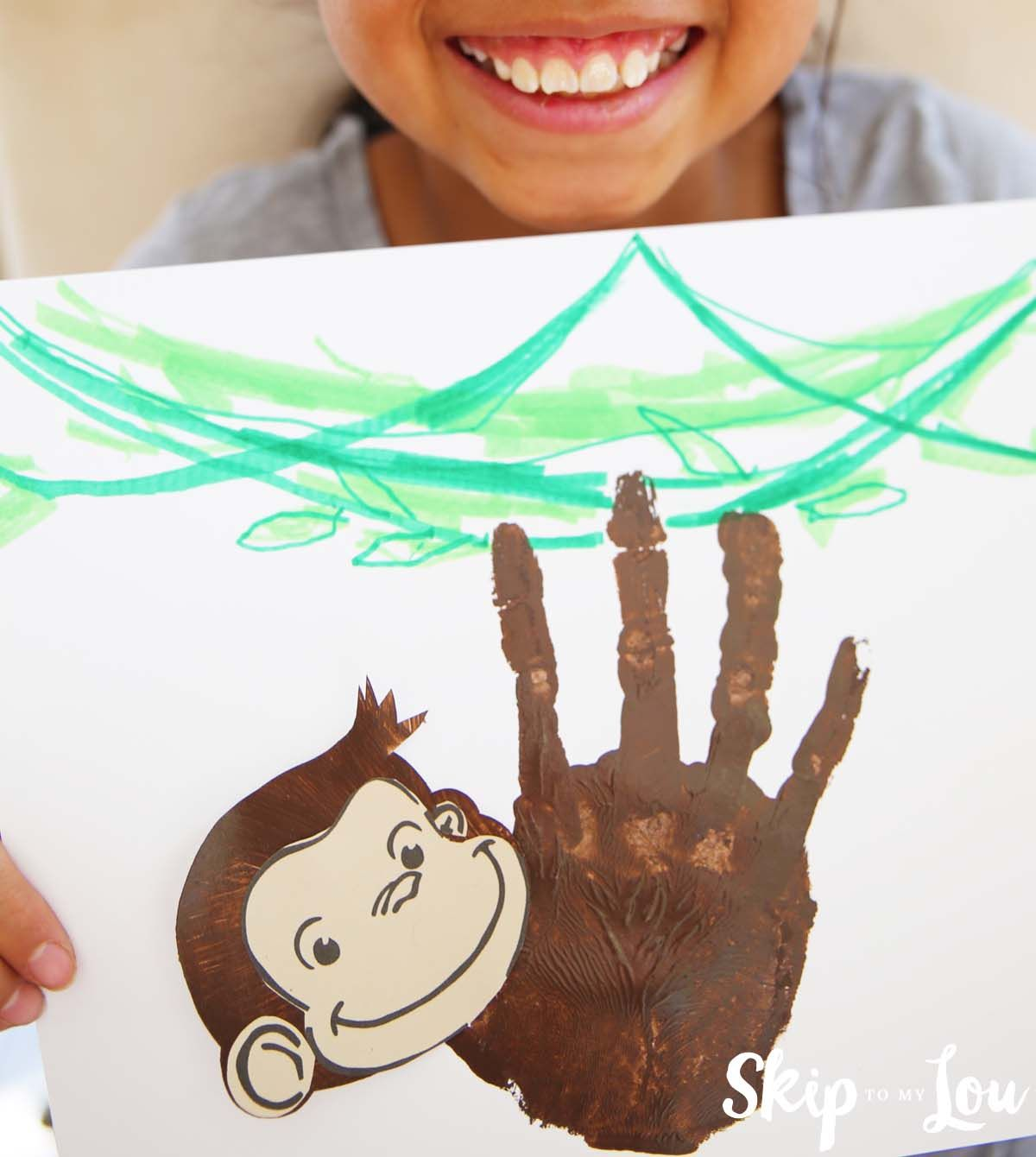 Krafty kidz center curious george coloring pages - Curious George Handprint Monkey Craft