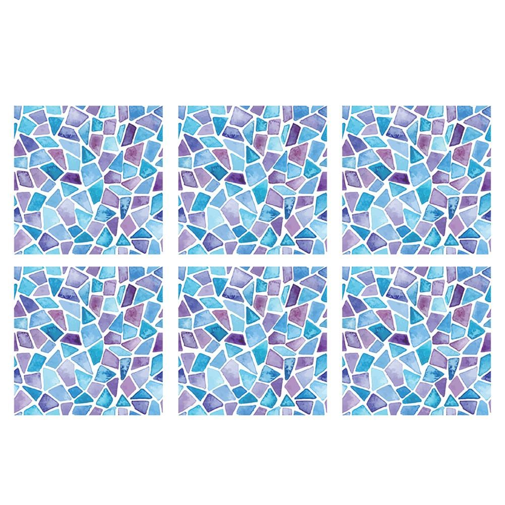 Photo of 6Pcs European Geometric Waterproof Stitching Tile Stickers Bathroom Wall Decor – as the picture am