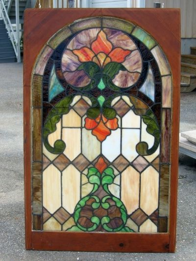 Art Nouveau  circa 1910. Large stained glass window.