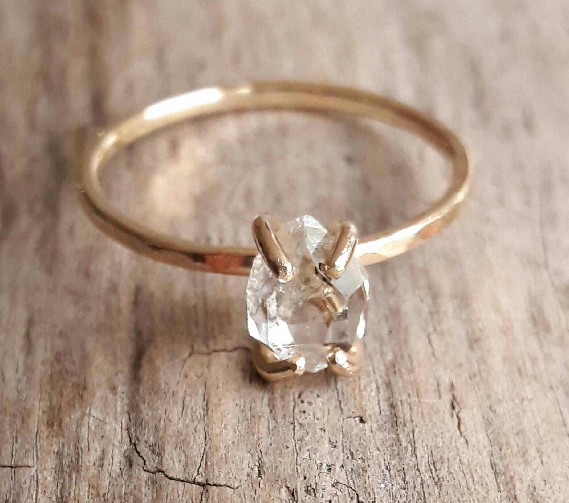 Solid 14k Yellow Gold Herkimer Diamond Engagement Ring  Quartz Crystal Ring   Gold Engagement Ring  Raw Quartz Ring  Raw Crystal Ring