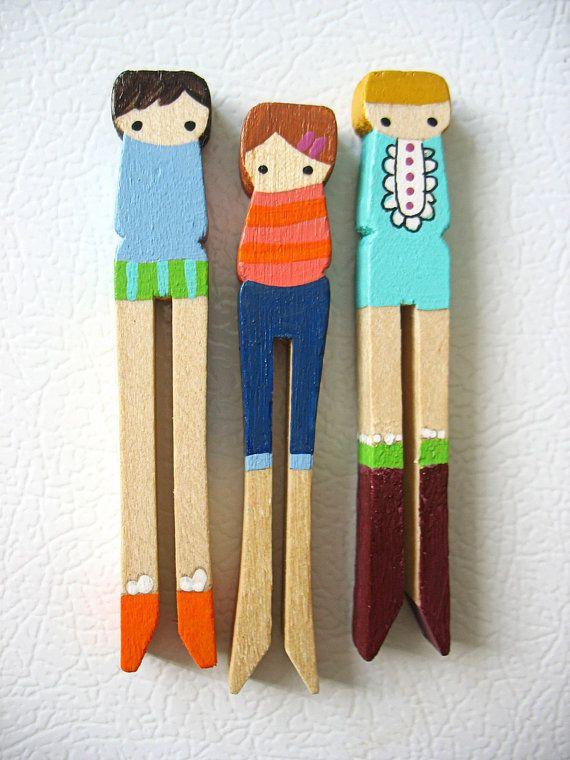 Handmade wooden folk art clothespin magnets ... girls with ...