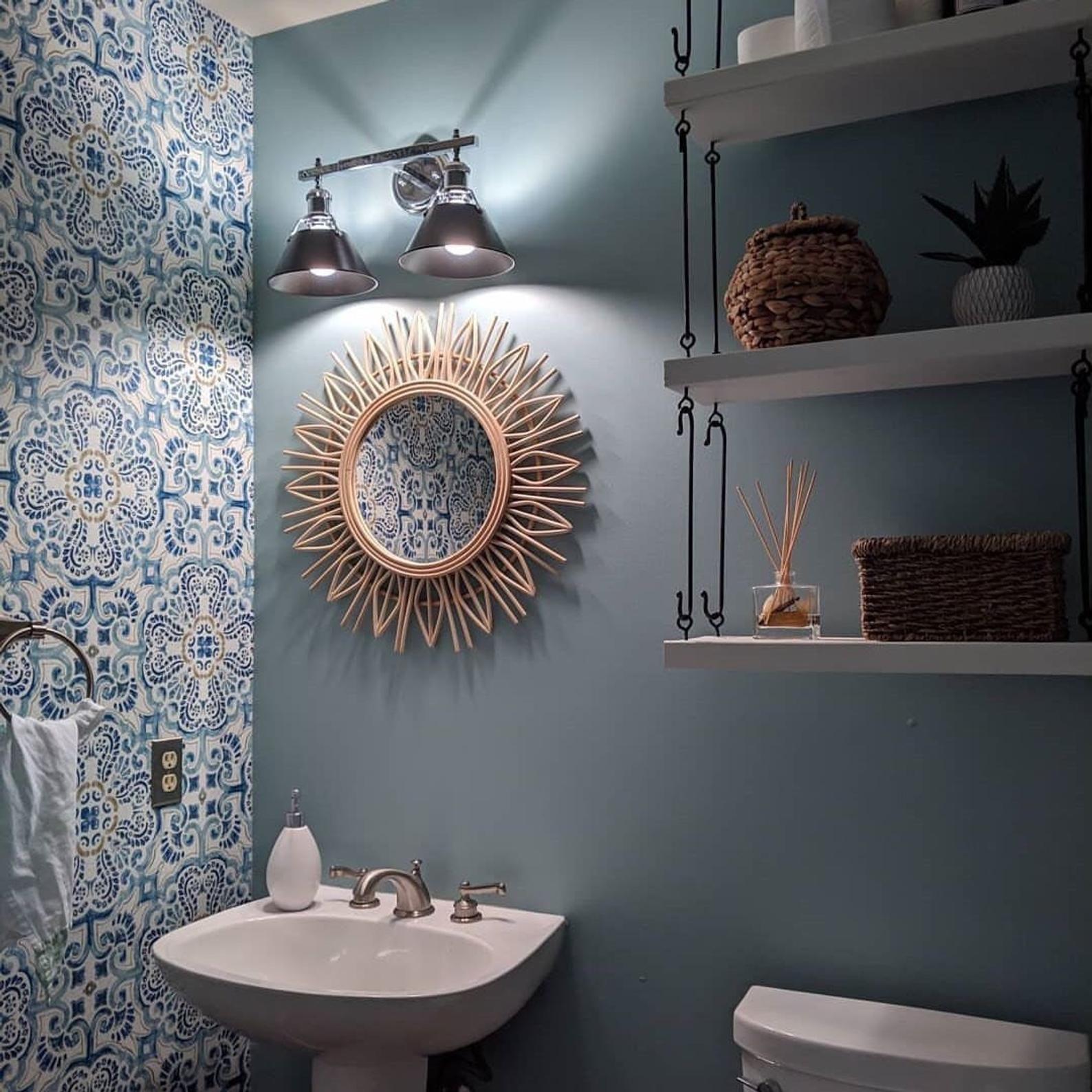 Peel And Stick Vintage Chic Blue Florentine Medallion Tile Etsy Peel And Stick Wallpaper Vintage Chic Tile Wallpaper