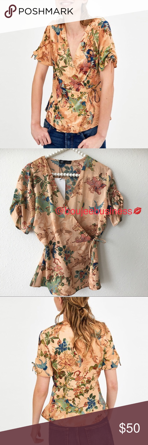 9ce304d0 ZARA Floral Print Crossover Wrap Top • 100% Polyester • Ties at ...