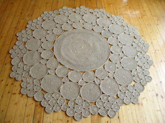 6 ft Crochet jute tappeto cerchio / 100 materiali