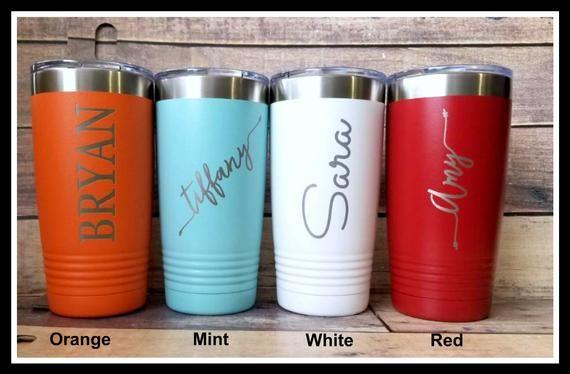 Travel Mug Tumbler, Personalized Coffee Mug, Monogrammed, Custom Groomsmen Gift, Travel Coffee Mug, Insulated Travel Cup, Bridesmaid Gifts