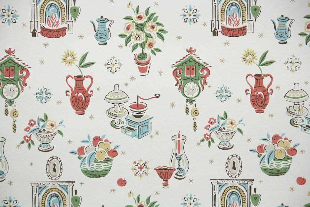 1950s Kitchen Vintage Wallpaper Vintage Wallpaper Patterns
