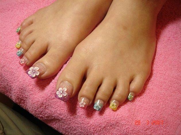 Long Acrylic Toes By Nailartmaria From Nail Art Gallery Toe Nails Easy Toe Nail Designs Toe Nail Designs