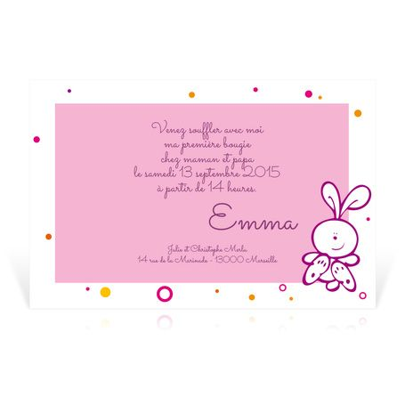 invitation anniversaire fille avec petit lapin cardissime personnaliser avec texte et photos. Black Bedroom Furniture Sets. Home Design Ideas