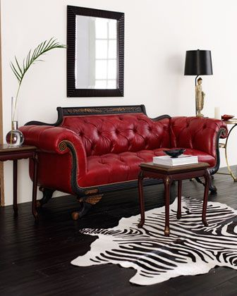 Rode Leren Design Bank.Old Hickory Tannery Red Tufted Leather Sofa Loveseat Woonkamer