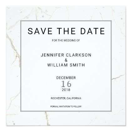 Modern simple marble white wedding save the date card stopboris Choice Image