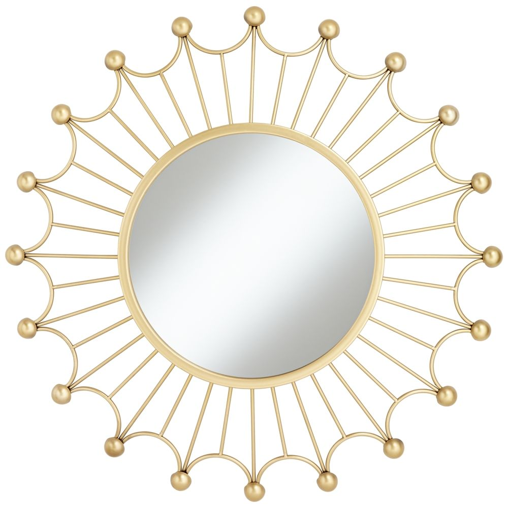 Weiss Gold 35 1 2 Round Sunburst Wall Mirror Style 16p92 Mirror Round Mirrors Gold