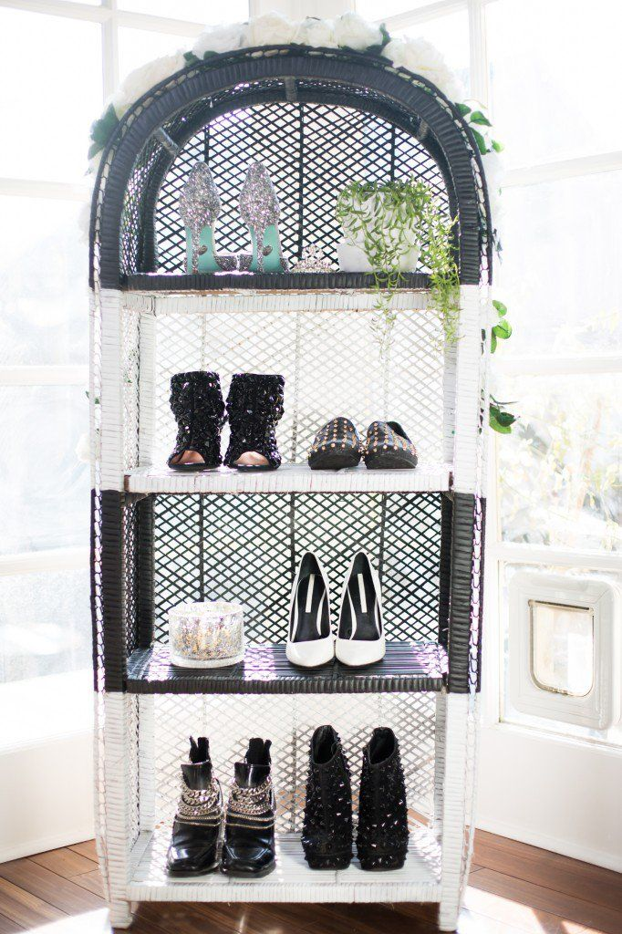 A Vintage Wicker Bookshelf Becomes This Black And White Parisian Inspired Shoe Shelf Talk About An Upcycle