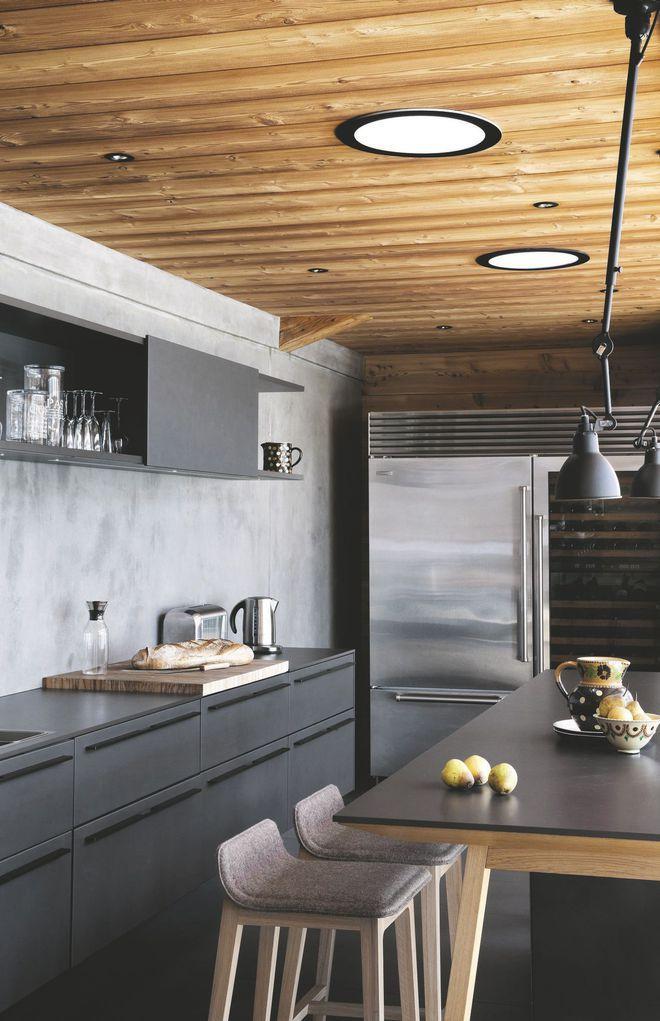Une table-bar dans la cuisine aux lignes modernes   cuisine ...