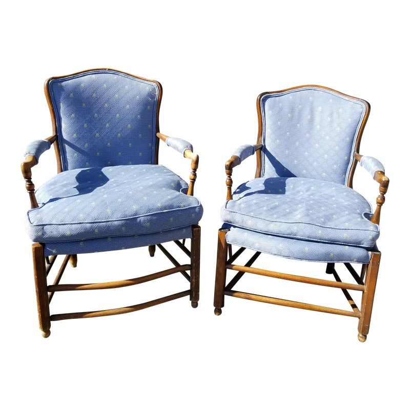 Vintage French Country Style Blue Down Cushion Accent Chairs A