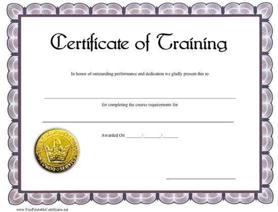 A printable certificate of training with a gold seal and blue-gray