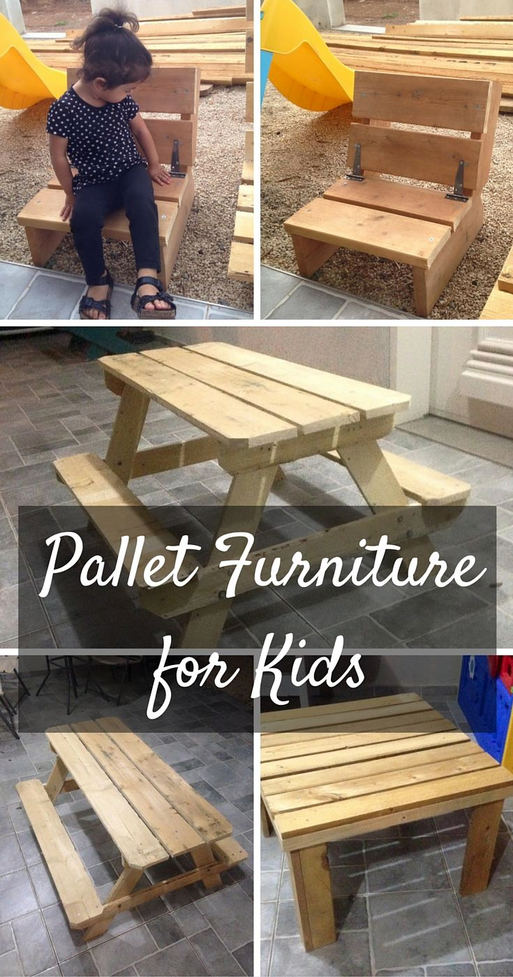 Diy comfortable pallet adirondack chair 101 pallets - Kids Furniture Made From Pallets 101 Pallets Pallet Kidsdiy
