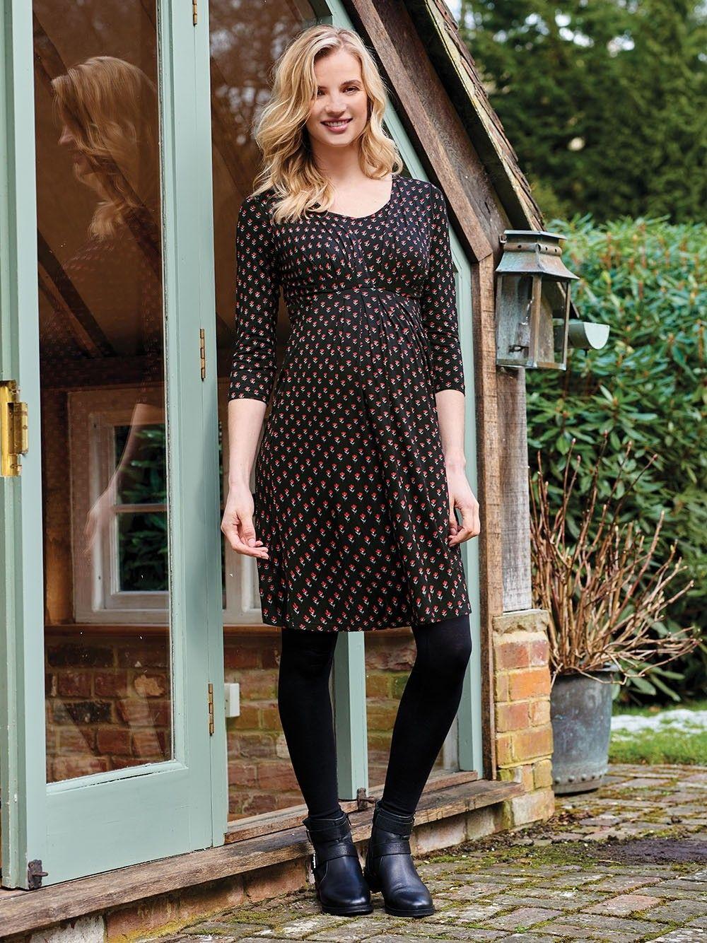 7b9df79570824 Black Ditsy Pleat Maternity & Nursing Tunic Dress | Maternity wear ...
