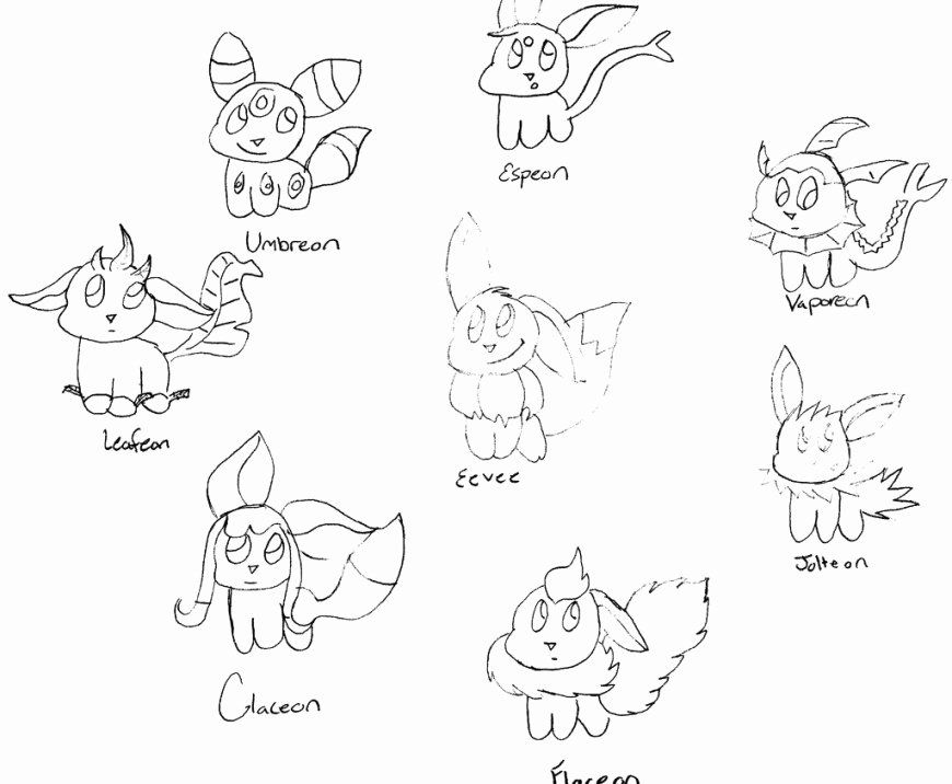 24 Eevee Evolutions Coloring Page (2020) Pokemon eevee