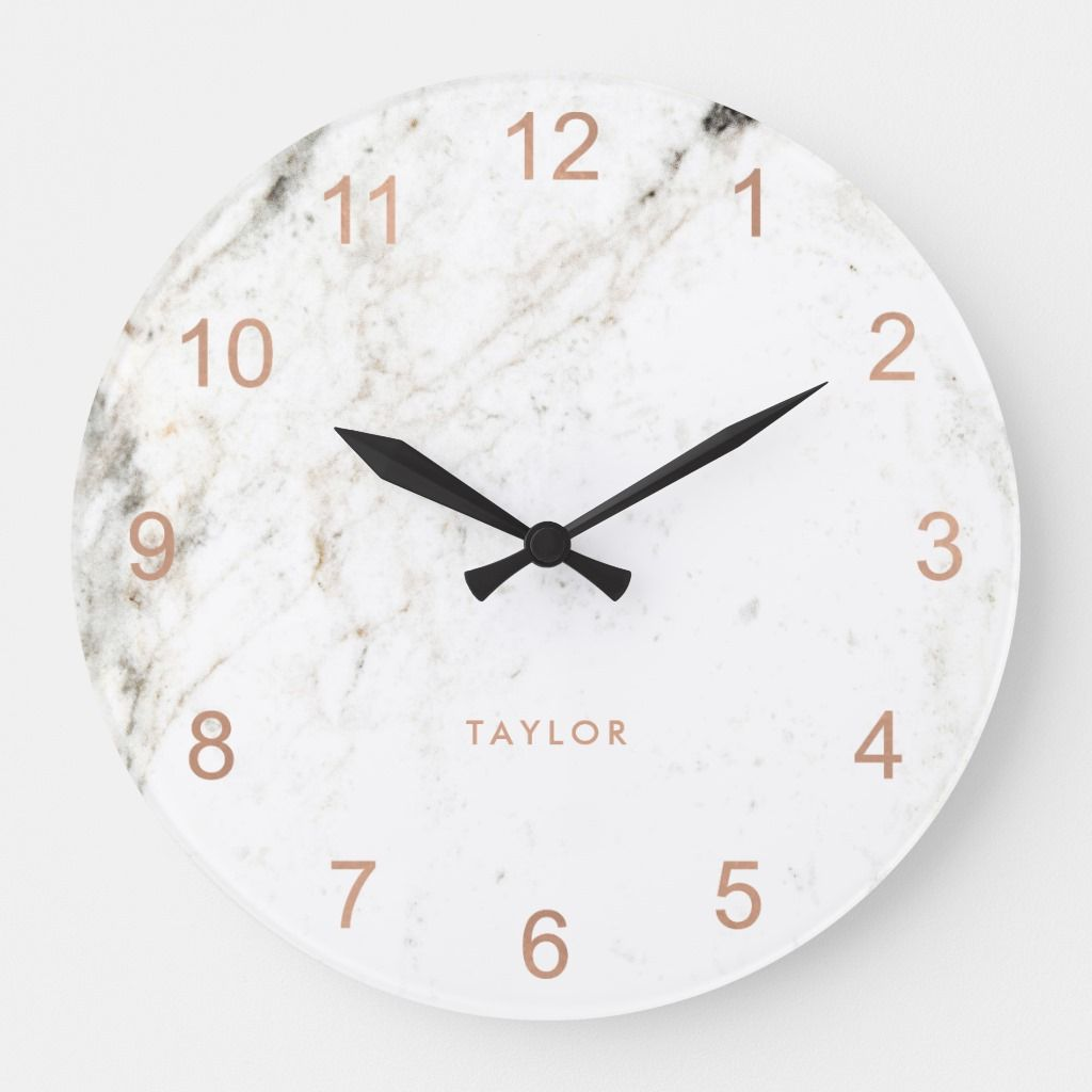 Trendy Glam Faux Rose Gold Look And White Marble Large Clock Zazzle Com In 2020 Rose Gold Kitchen Accessories White Marble Clock