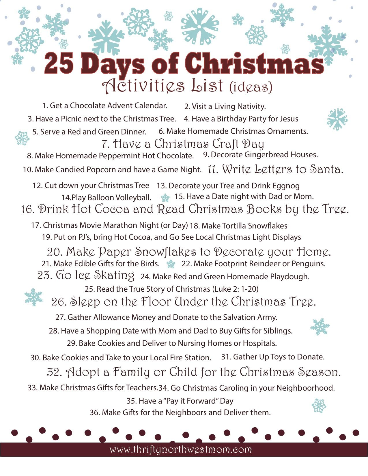 25 Days Of Christmas Activities List Free Printables