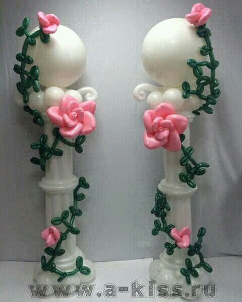 Beautiful balloon columns to decorate a wedding wedding for Beautiful balloon decorations
