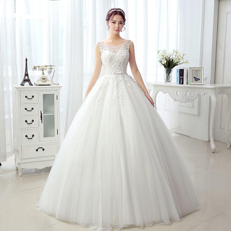 Real Photos Fancy Princess Ball Gown Wedding Dresses Tank Sleeveless ...