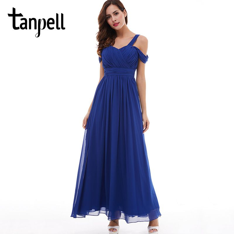 Tanpell straps prom dress cheap dark royal blue floor length a line draped  dresses back lace 8bcbee181415