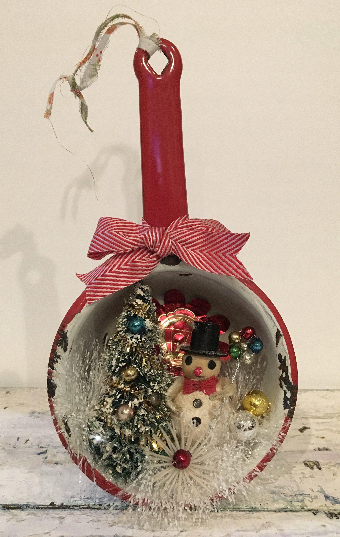Handcrafted Ooak Vintage Christmas Snowman Scene Red Enamel Pot