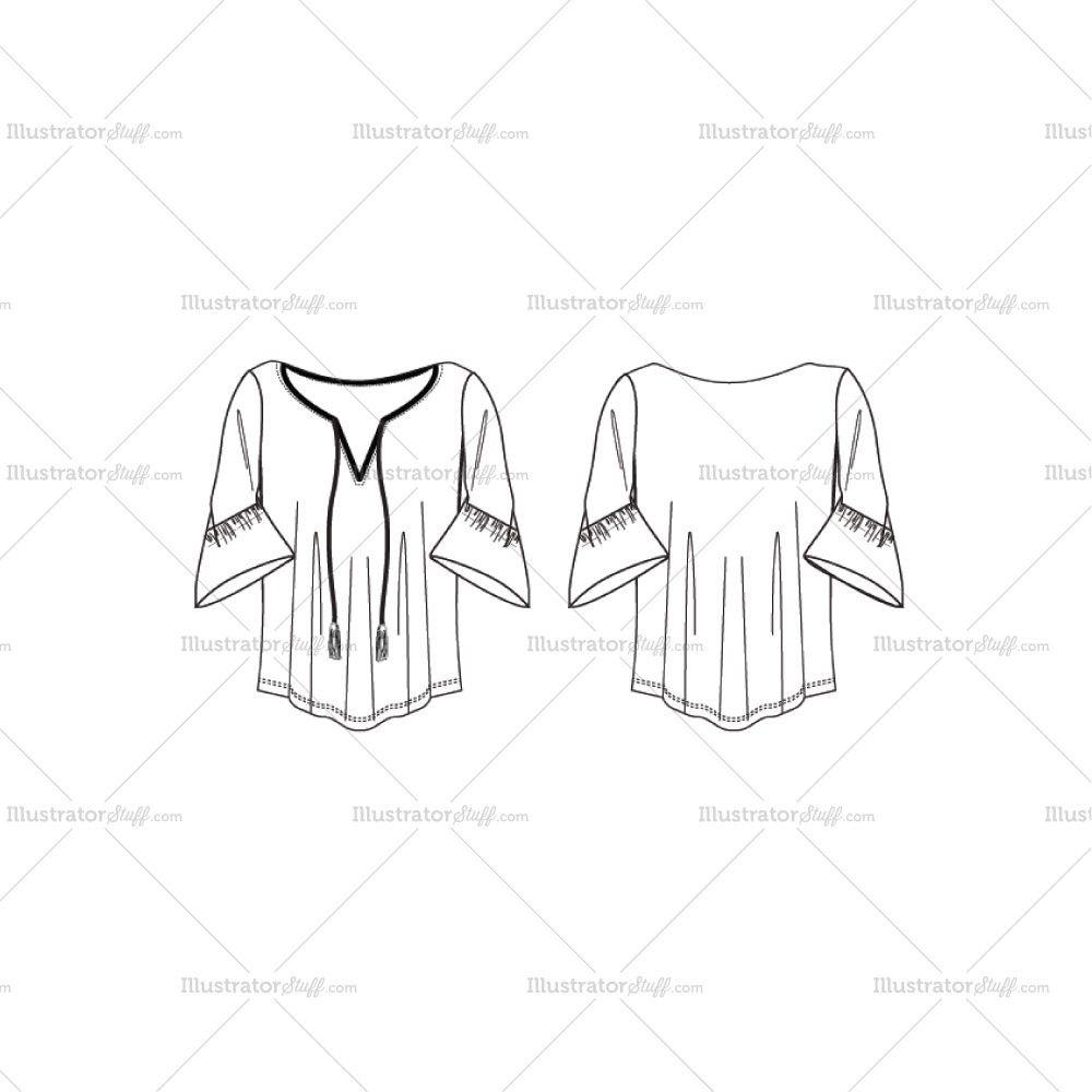 Women\'s Blouse Fashion Flat Template $ 2.50 #Illustratorstuff ...