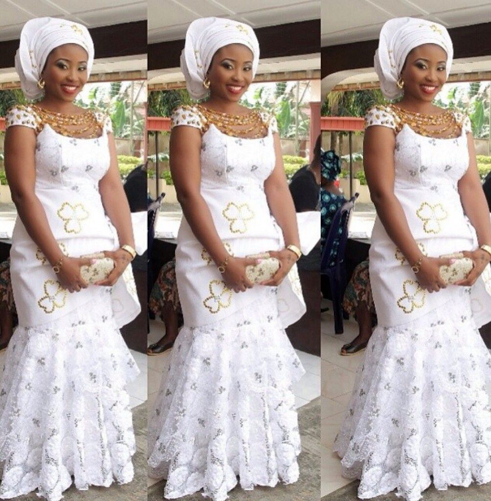 White lace african fashion ankara kitenge african for African lace wedding dress