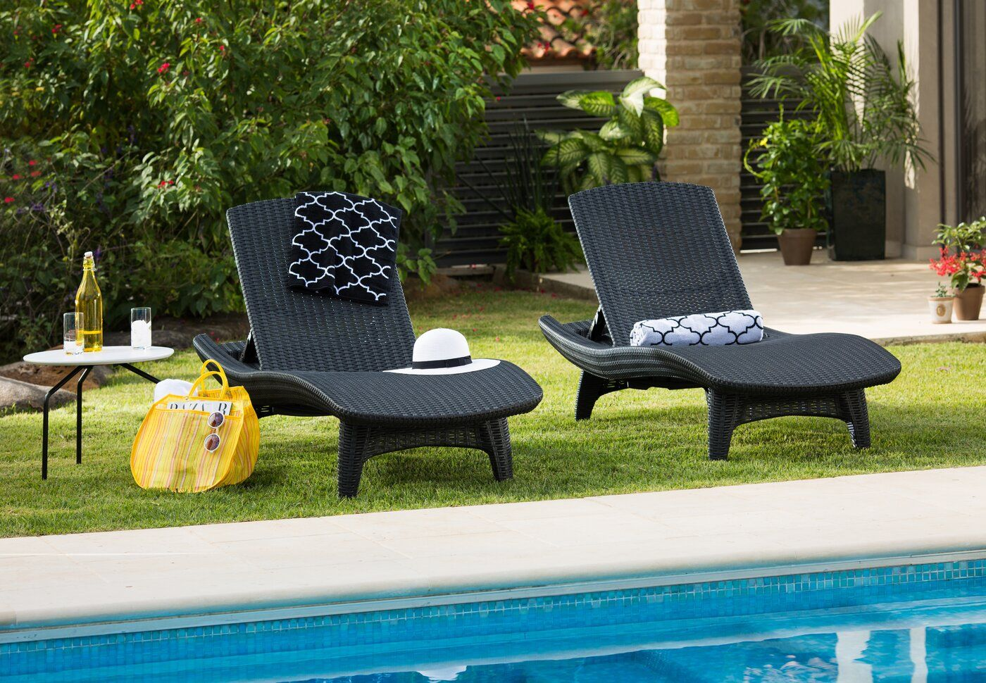 Clarita Sun Reclining Chaise Lounge  Outdoor patio chaise lounge