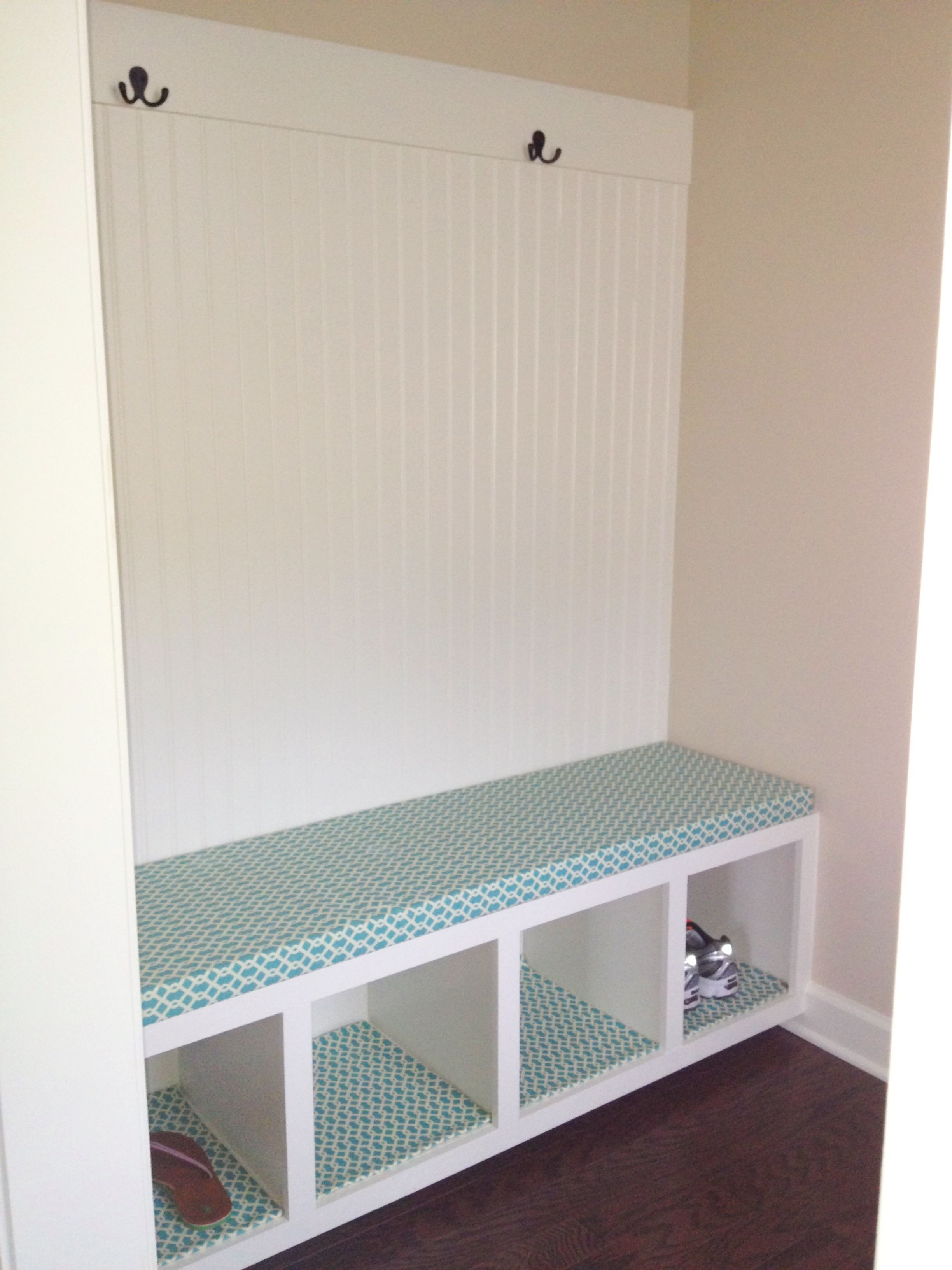 No sew bench cushion and shelf liners I made the Mudroom bench