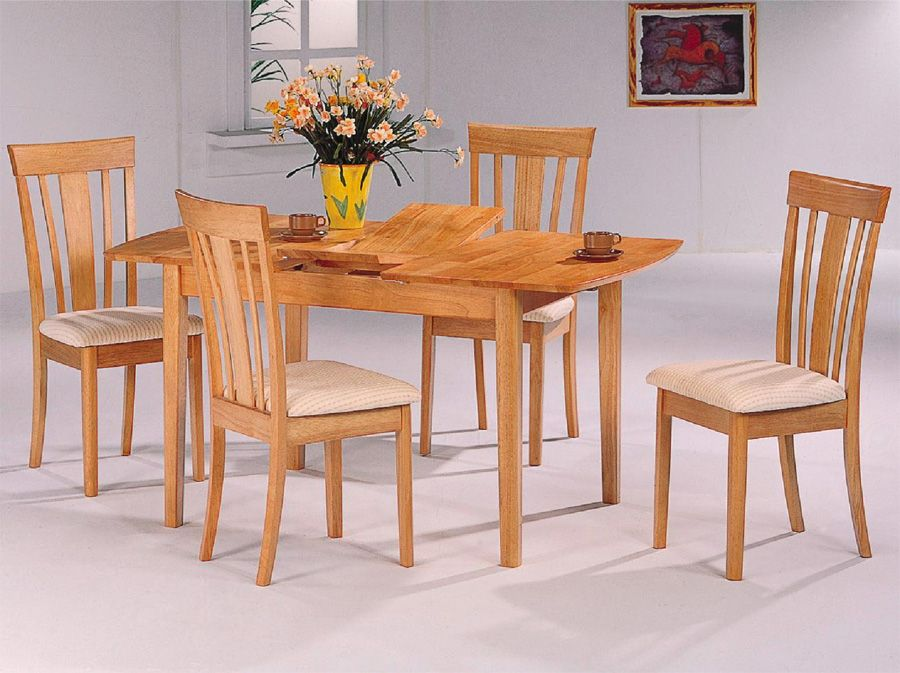 Elegant Coaster Dinner Room Furniture Natural Finish Dining Table W/Butterfly Leaf