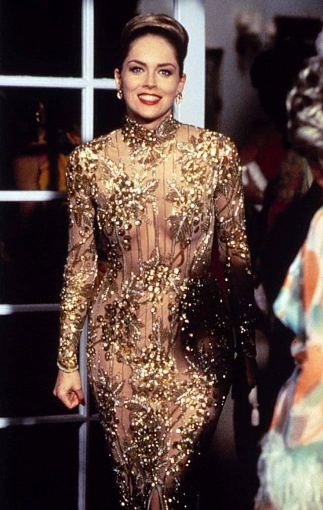 Gold dress | Dressed stone, Sharon stone casino, Sharon stone