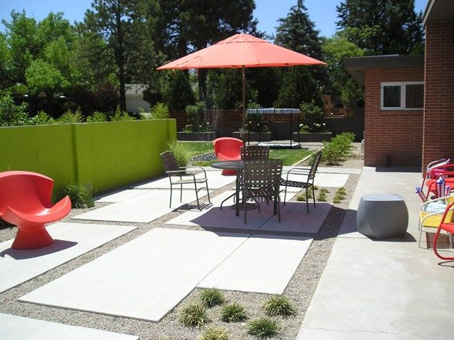 Modern Backyard Patio Recently Added Red Twig Studio Albuquerque, NM