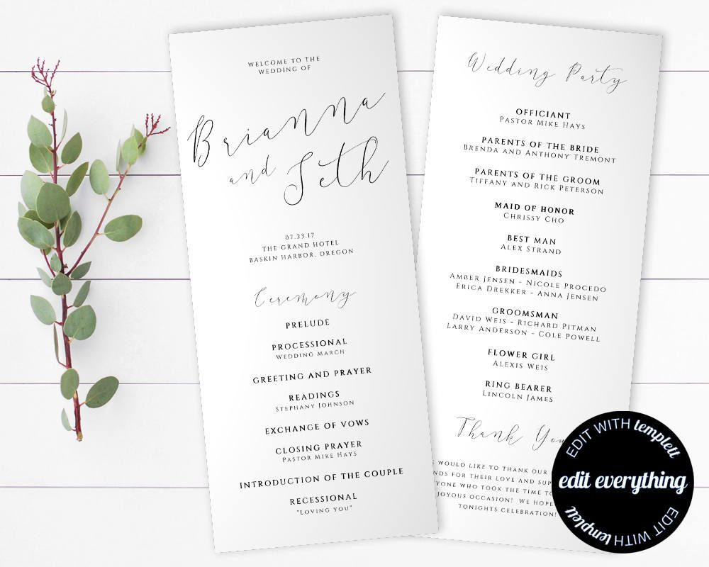 Tea Length Wedding Program Template - Diy Wedding program - Order of ...