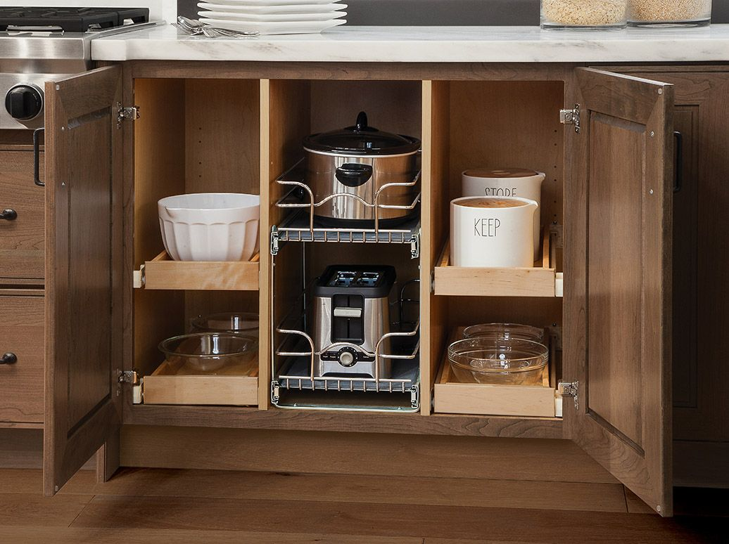 Organize With A Large Variety Of Sliding Trays Roll Out Shelves And Much More Organize Me Kitchen Cabinet Design Under Cabinet Storage Accessories Storage