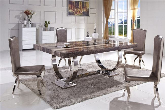 Hot Item Hot Sale Stable Metal Legs Marble Top Dining Table Ct