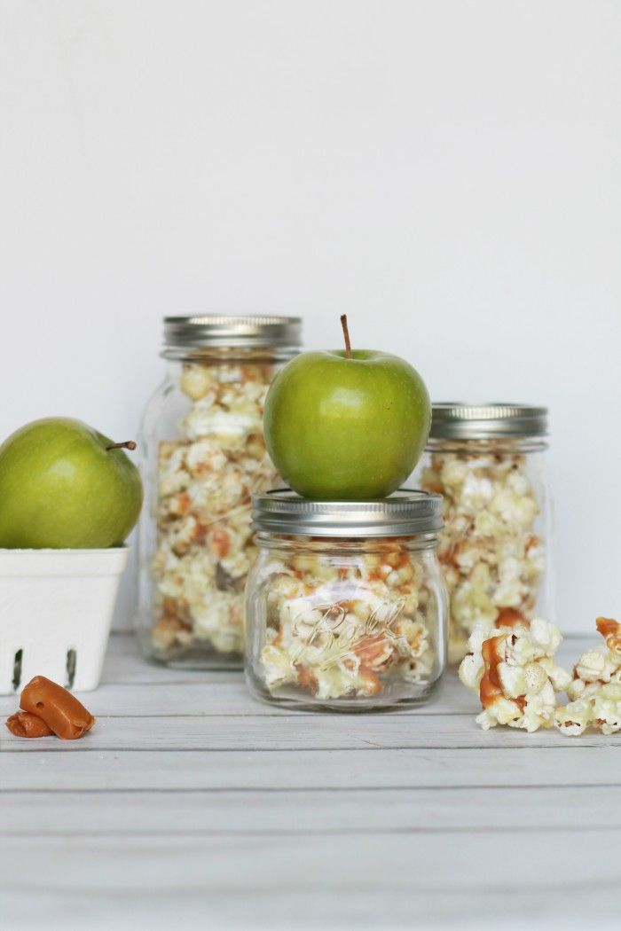candied caramel apple popcorn in a jar
