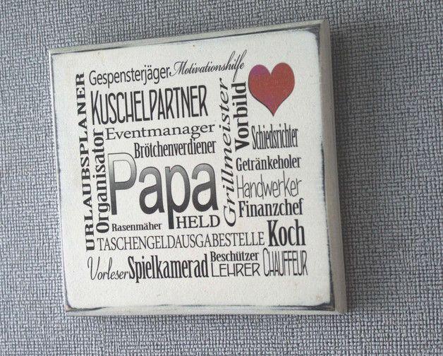 VATERTAG Geschenkidee Holzschild mit Spruch +PAPA+